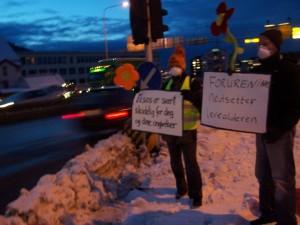 Grønne aksjonister for ren luft (Foto: Bergen MDG, CC BY-SA 3.0)